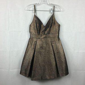 Fashion Nova Bronze Metallic Mini Dress Sz M